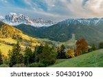 colors of dolomites. funes view ... | Shutterstock . vector #504301900