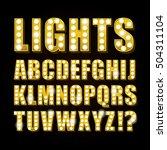 vector yellow neon lamp letters ... | Shutterstock .eps vector #504311104