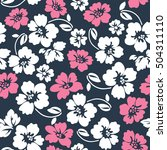 cute blue and pink floral print ... | Shutterstock .eps vector #504311110