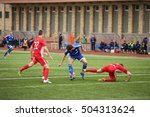Small photo of DAUGAVPILS, LATVIA - September 24, 2016: game episode in a football match with contact. Latvian championship, high league. BFC Daugavpils - FC Spartak 1:0