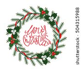 christmas wreath made of spruce ... | Shutterstock .eps vector #504315988