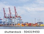 lifting cargo cranes in sea... | Shutterstock . vector #504319450