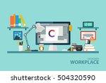 graphic designer workplace flat ... | Shutterstock .eps vector #504320590