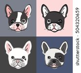 french bulldog. vector set of... | Shutterstock .eps vector #504320659