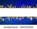 blank banner on blue christmas... | Shutterstock . vector #504332404