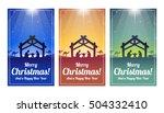 nativity scene christmas cards  ... | Shutterstock .eps vector #504332410