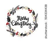 merry christmas hand lettering... | Shutterstock .eps vector #504334438