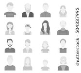 avatar set icons in monochrome...   Shutterstock .eps vector #504337993