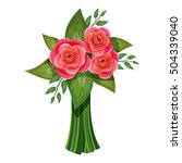 pink roses bouquet flowers icon.... | Shutterstock .eps vector #504339040