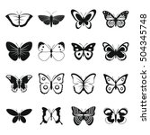 butterfly icons set. simple... | Shutterstock .eps vector #504345748