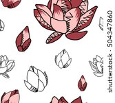 lotus pattern line flower on... | Shutterstock . vector #504347860