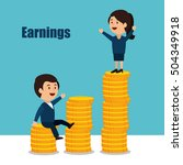cartoon money earnings design... | Shutterstock .eps vector #504349918