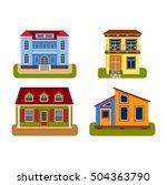 houses front view vector... | Shutterstock .eps vector #504363790