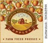 vintage colorful apple harvest... | Shutterstock . vector #504365944