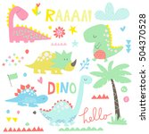 Stock vector a collection of cute dinosaurs themed illustrations 504370528