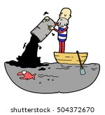 sailor in boat is pouring from... | Shutterstock .eps vector #504372670