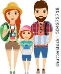a young family is traveling.... | Shutterstock .eps vector #504372718