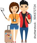 a young family is traveling.... | Shutterstock .eps vector #504372724