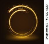 round gold shiny with sparks... | Shutterstock .eps vector #504374830