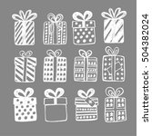 christmas set with gift boxes ... | Shutterstock .eps vector #504382024