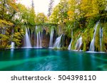 waterfalls of plitvice national ... | Shutterstock . vector #504398110