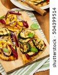 grilled vegetable flatbread... | Shutterstock . vector #504399514