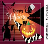 halloween background. vector... | Shutterstock .eps vector #504401866