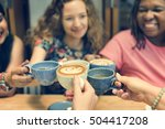 young woman drinking coffee... | Shutterstock . vector #504417208