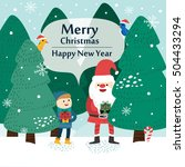 little boy and santa claus.... | Shutterstock .eps vector #504433294