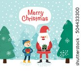 little boy and santa claus.... | Shutterstock .eps vector #504433300