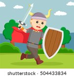 viking soldier wield shield and ... | Shutterstock .eps vector #504433834