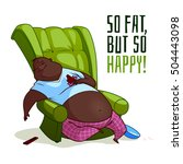the fat african american man in ... | Shutterstock .eps vector #504443098