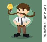 moustache power guy lifting... | Shutterstock . vector #504449344