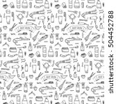 seamless pattern hand drawn... | Shutterstock .eps vector #504452788