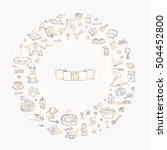 hand drawn doodle pets stuff... | Shutterstock .eps vector #504452800
