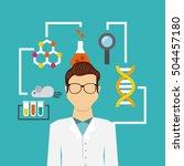 laboratory equipment set line... | Shutterstock .eps vector #504457180