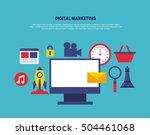 digital marketing set line... | Shutterstock .eps vector #504461068