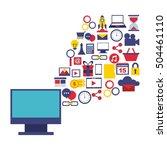 digital marketing set line... | Shutterstock .eps vector #504461110