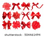 set of red festive bows on... | Shutterstock . vector #504461494
