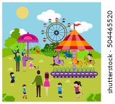 happy families theme with park... | Shutterstock .eps vector #504465520