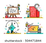 art tools and materials for... | Shutterstock .eps vector #504471844