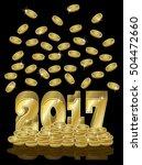 golden money coins new 2017... | Shutterstock .eps vector #504472660