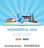 travel asia with asia landmarks ... | Shutterstock .eps vector #504489364