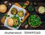 zucchini quinoa veggie burger... | Shutterstock . vector #504495160