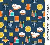 hanukkah seamless pattern.... | Shutterstock .eps vector #504500566
