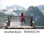 woman meditating relaxing alone ... | Shutterstock . vector #504502174