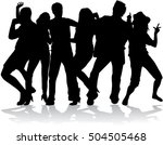dancing people silhouettes. | Shutterstock .eps vector #504505468