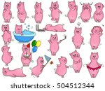 cute hand drawn doodle pigs...