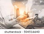 double exposure business... | Shutterstock . vector #504516640