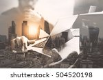 double exposure business team... | Shutterstock . vector #504520198